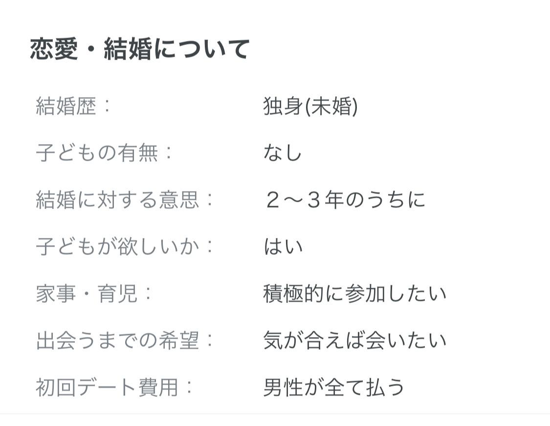 マッチングアプリ 1. プロフィールの「結婚」欄が未記入