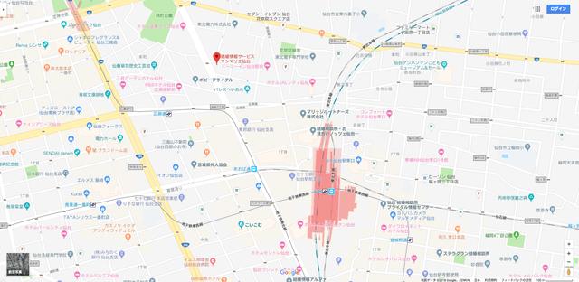 結婚相談所 サンマリエ仙台支店へのアクセス地図