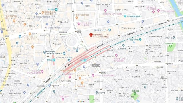 婚活のコツ パートナーエージェント浜松店へのアクセス地図