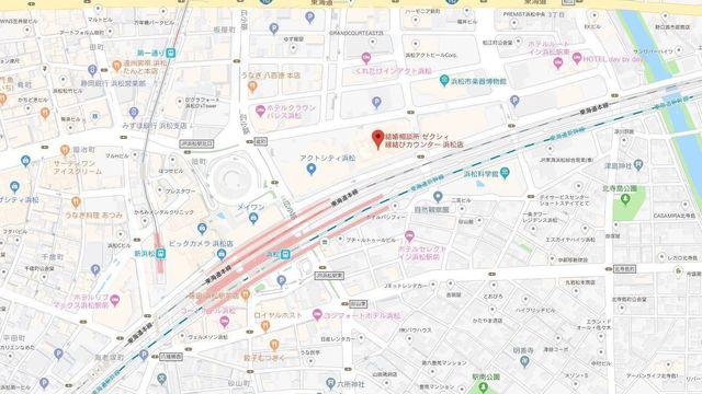 婚活のコツ ゼクシィ縁結びカウンター浜松店へのアクセス地図