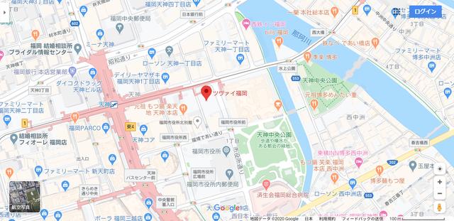 結婚相談所 ツヴァイ福岡へのアクセス地図