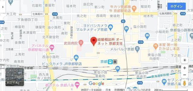 結婚相談所 オーネット 京都支社へのアクセス地図