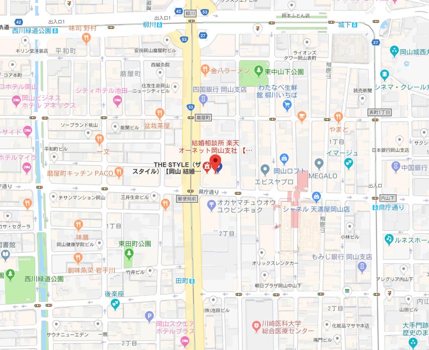 ツヴァイ 楽天オーネット岡山支店へのアクセス地図