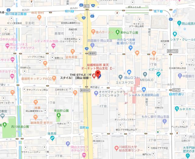 結婚相談所 楽天オーネット岡山支店へのアクセス地図