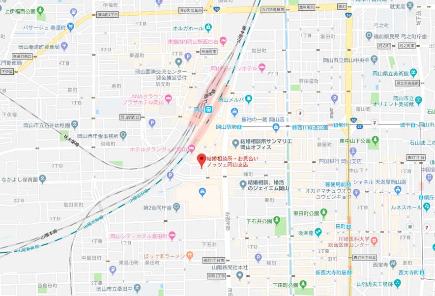 ツヴァイ ノッツェ岡山支社へのアクセス地図