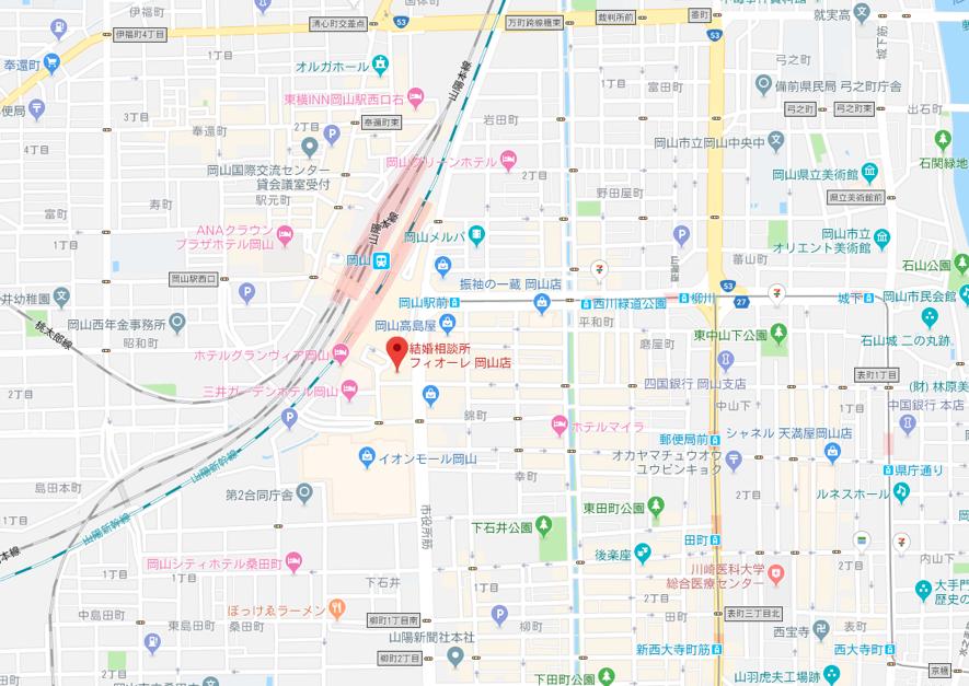 ツヴァイ フィオーレ 岡山支店のアクセス地図