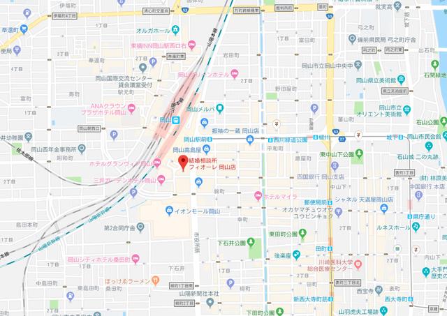 結婚相談所 フィオーレ 岡山支店のアクセス地図