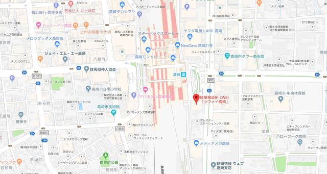 婚活のコツ ツヴァイ高崎支店へのアクセス地図