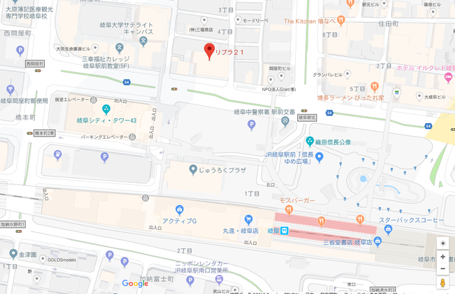 婚活恋活アプリ パートナーエージェント岐阜店へのアクセス地図