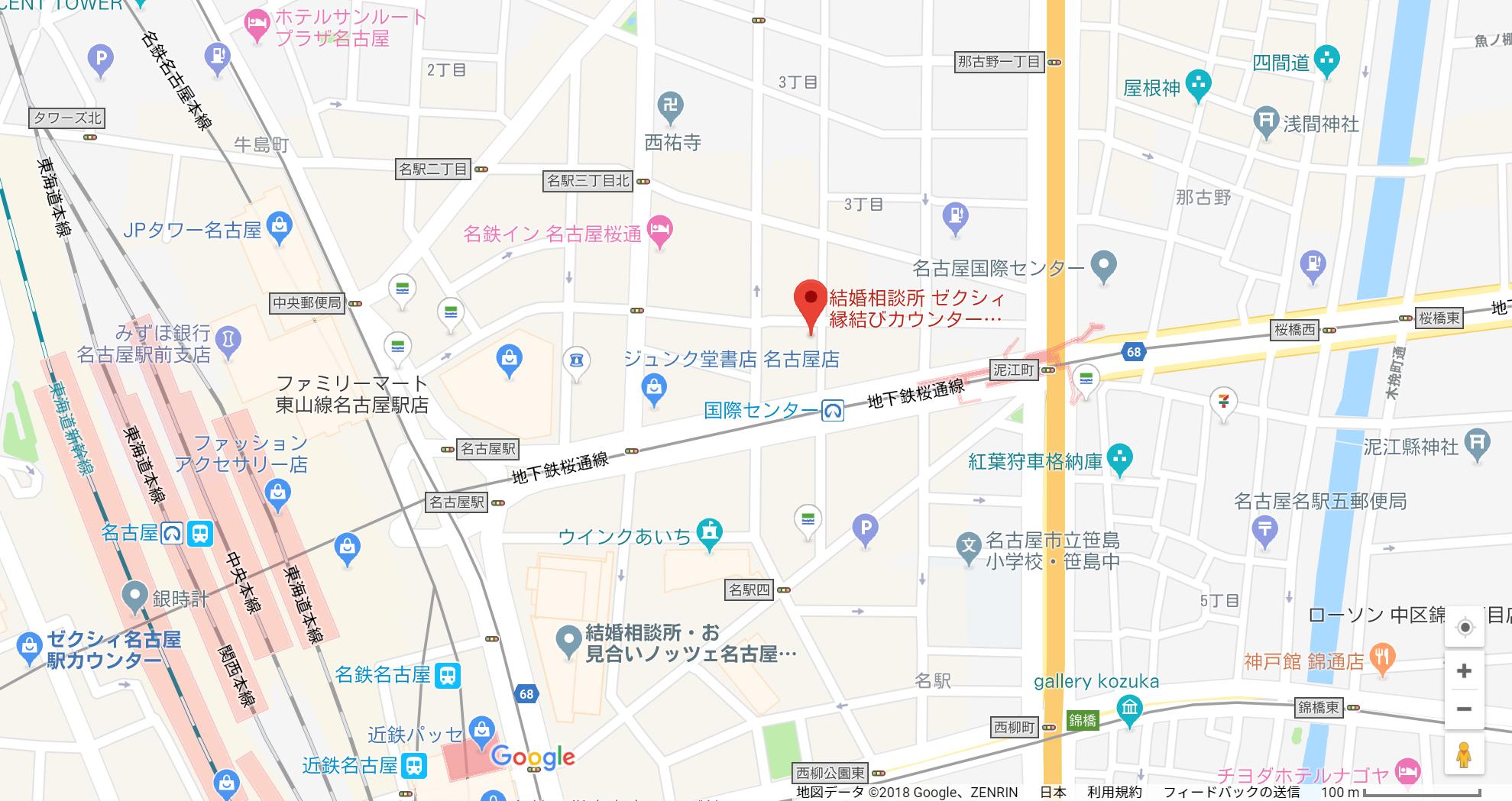 婚活のコツ ゼクシィ縁結びカウンター名古駅店へのアクセス地図