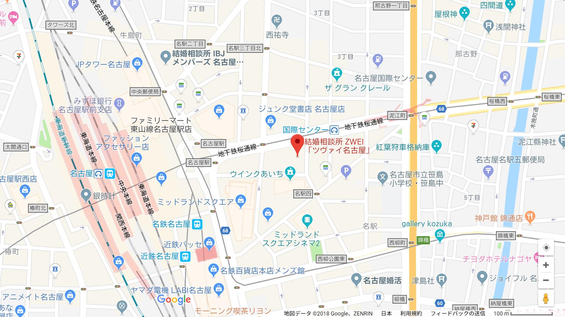 婚活のコツ ツヴァイ名古屋支店へのアクセス地図