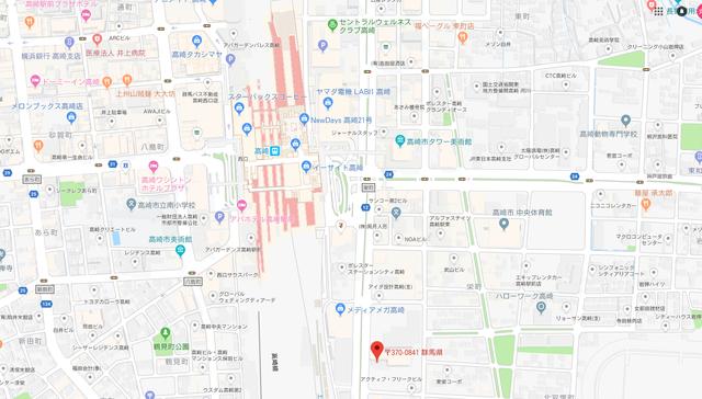 婚活のコツ ウェブ高崎支店のアクセス地図