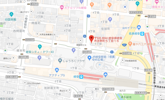 婚活恋活アプリ GMA岐阜へのアクセス地図