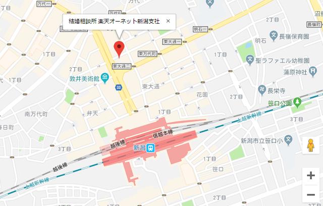 婚活恋活アプリ 楽天オーネット新潟支社のアクセス地図