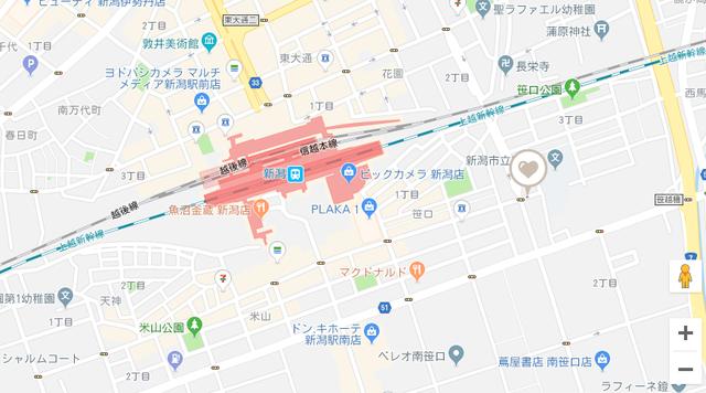 ツヴァイ ハッピーロード新潟本社のアクセス地図