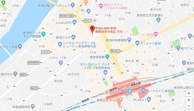 ツヴァイ ウェディングマーチ新潟本社のアクセス地図