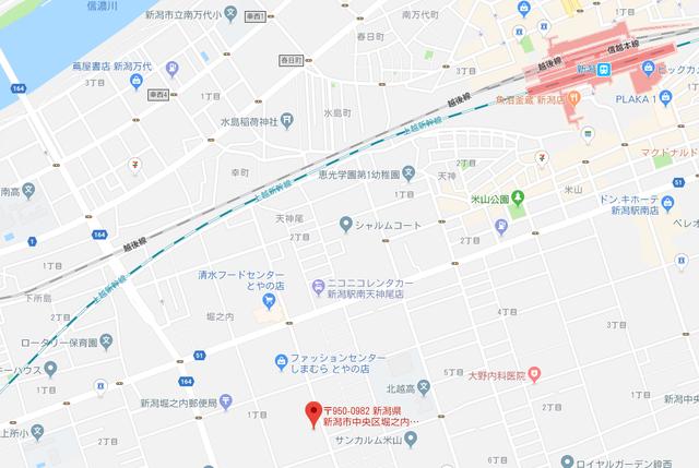 婚活恋活アプリ ファニーキープス新潟店のアクセス地図