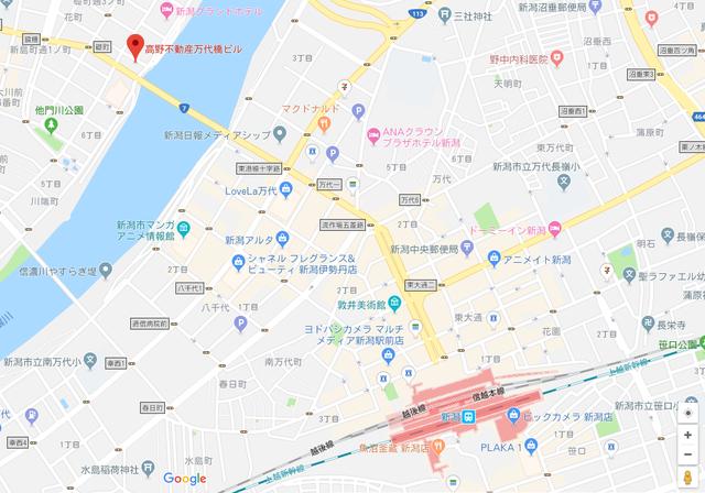 婚活恋活アプリ ウェブ新潟支店のアクセス地図