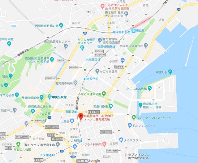 婚活恋活アプリ ノッツェ鹿児島支店のアクセス地図