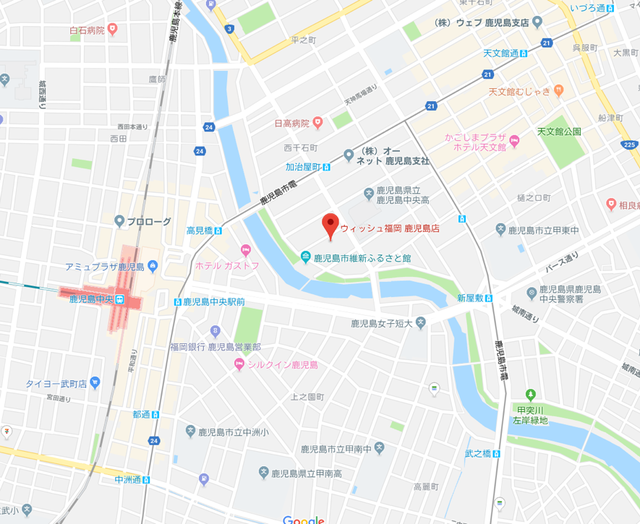 婚活恋活アプリ ウィッシュ福岡鹿児島支社のアクセス地図