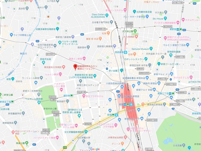 婚活恋活アプリ エン婚活エージェントのアクセス地図