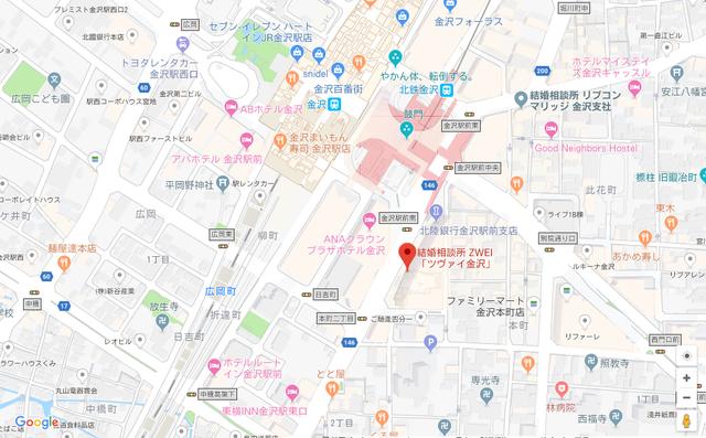 婚活恋活アプリ ツヴァイ金沢のアクセス地図