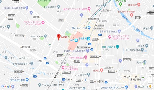 婚活恋活アプリ ウェブ金沢支店のアクセス地図