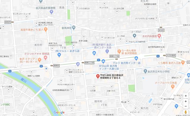 婚活恋活アプリ マリッジプランニング金沢のアクセス地図
