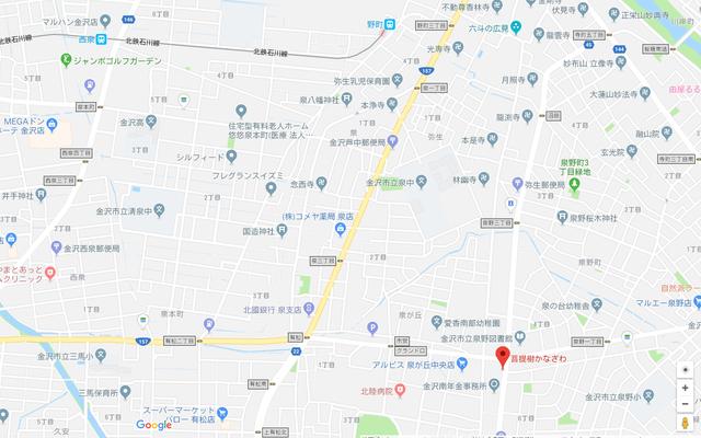 婚活恋活アプリ 菩提樹かなざわのアクセス地図
