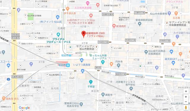 婚活恋活アプリ ツヴァイ松山のアクセス地図