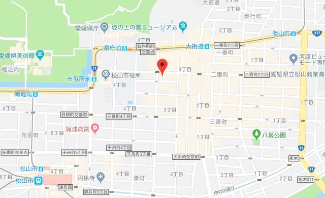 婚活恋活アプリ 楽天オーネット松山支社のアクセス地図