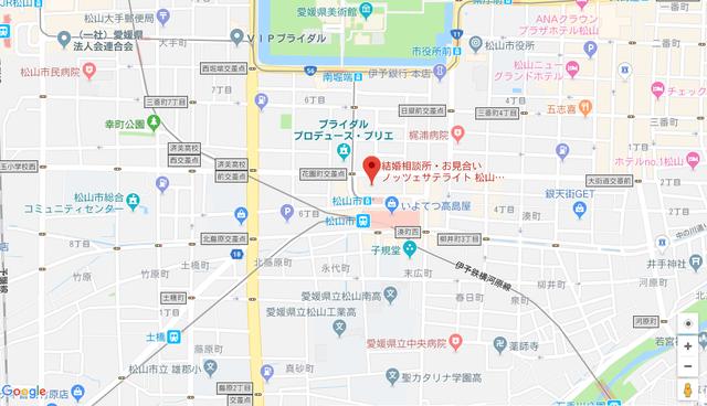 婚活恋活アプリ ノッツェサテライト松山のアクセス地図