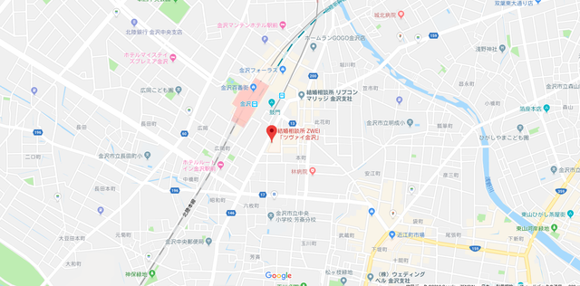 結婚相談所 ツヴァイ金沢へのアクセス地図