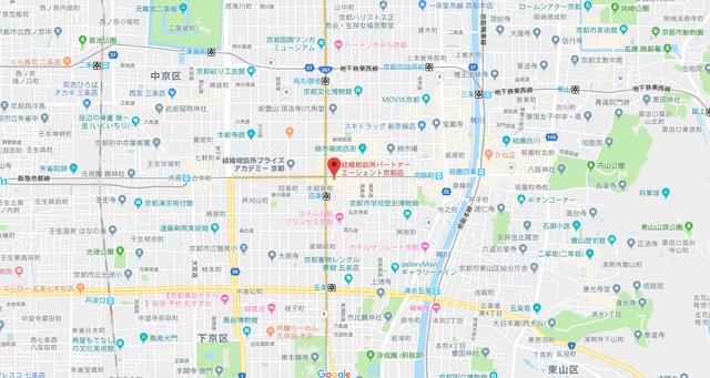 結婚相談所 パートナーエージェント京都店へのアクセス地図