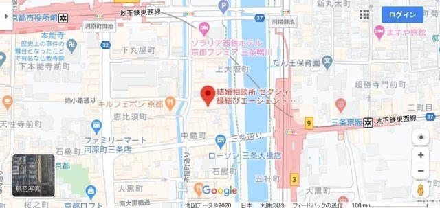 結婚相談所 ゼクシィ縁結びエージェント京都三条鴨川店へのアクセス地図